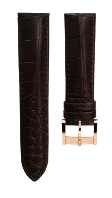 Leather strap from genuine aligator - dark brown - 22 mm - rosegold plated buckle