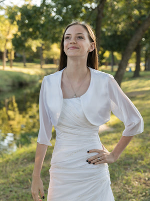 Ava in Satin with 3/4 Chiffon sleeves