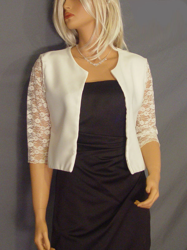 Lauren Satin jacket with 3/4 Lace sleeves