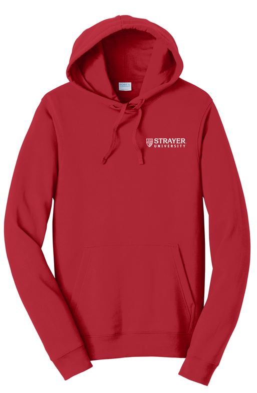 UNISEX Port & Company® Fan Favorite™ Fleece Pullover Hooded Sweatshirt-BRIGHT RED