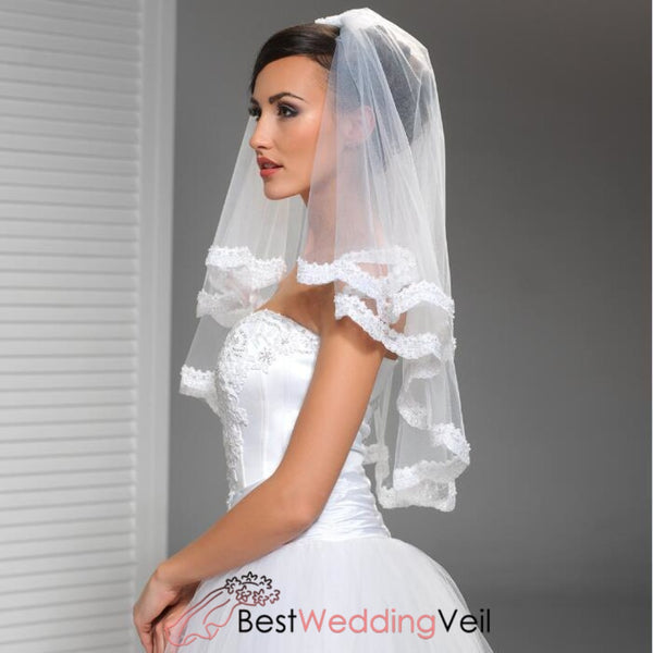 Two Tiers Tulle Bride Elbow Length Wedding Veil With Appliqued Trim
