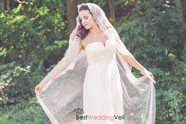 Chantilly Lace Edge Chapel Length Ivory Wedding Veil