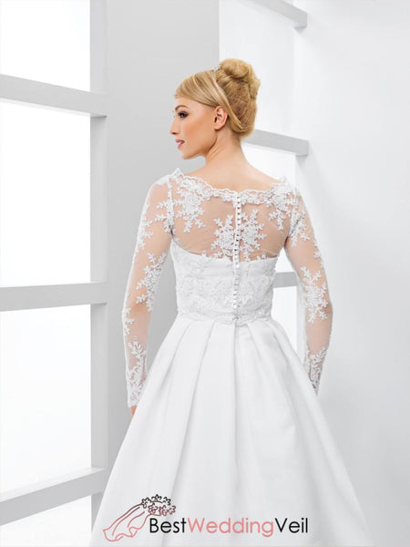 Lace Long Sleeved Wedding Jacket Sheer Bridal Separates Jacket&bolero