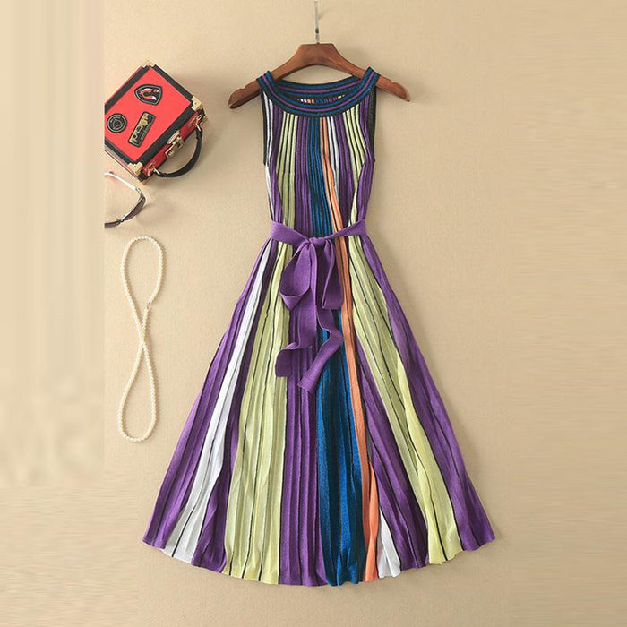 Designer Run Way Inspired Womans Day Dress - Striped Mid-calf Womans Dress - Womans Sleeveless Day Dress