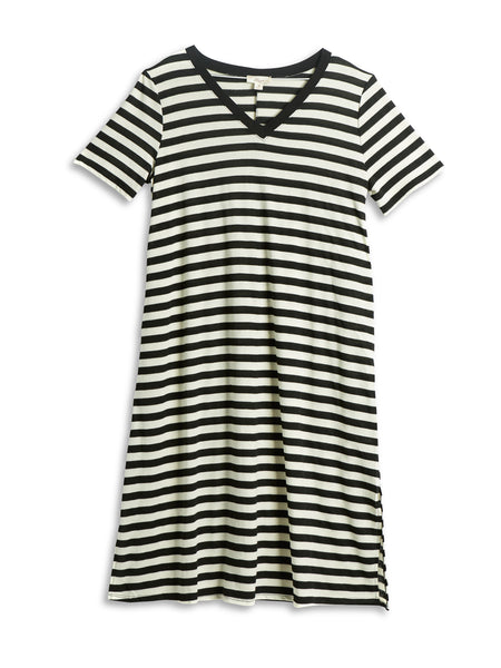 Misia Black & White Striped Plus Size Tunic