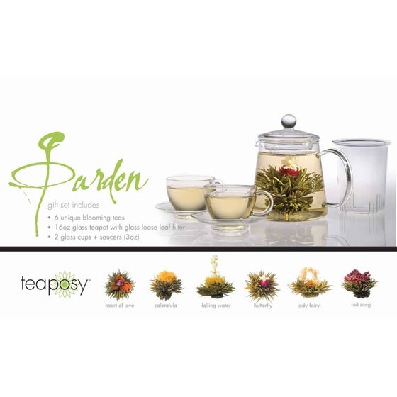 teaposy garden posy gift set with 6 unique blooming teas and tea-for-two glass teapot soulmates glass tea cup sets