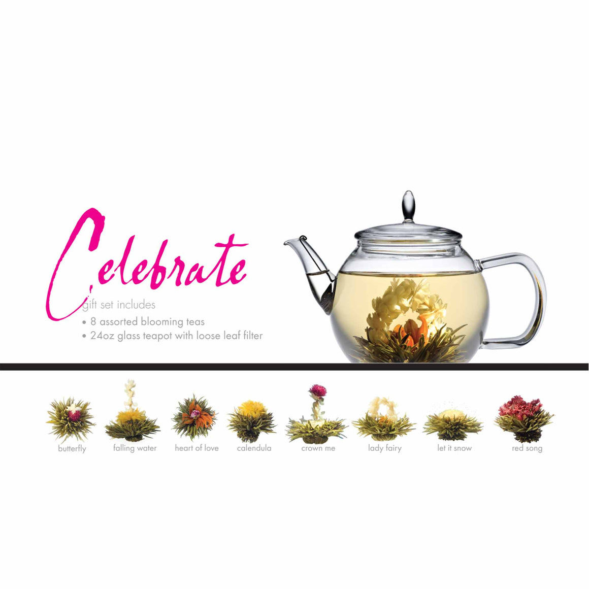 teaposy celebrate posy gift set with 8 unique blooming teas in a 24oz glass teapot