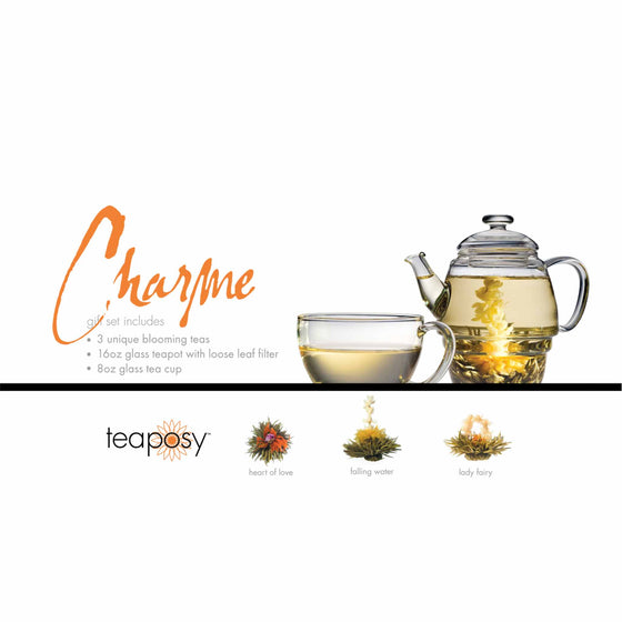 teaposy charme posy gift set with 3 unique blooming teas 16oz glass teapot and 8oz glass tea cup