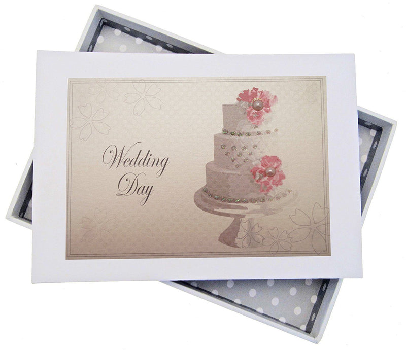 White Cotton Cards Wedding Day Tiny Album Vintage Cake, White