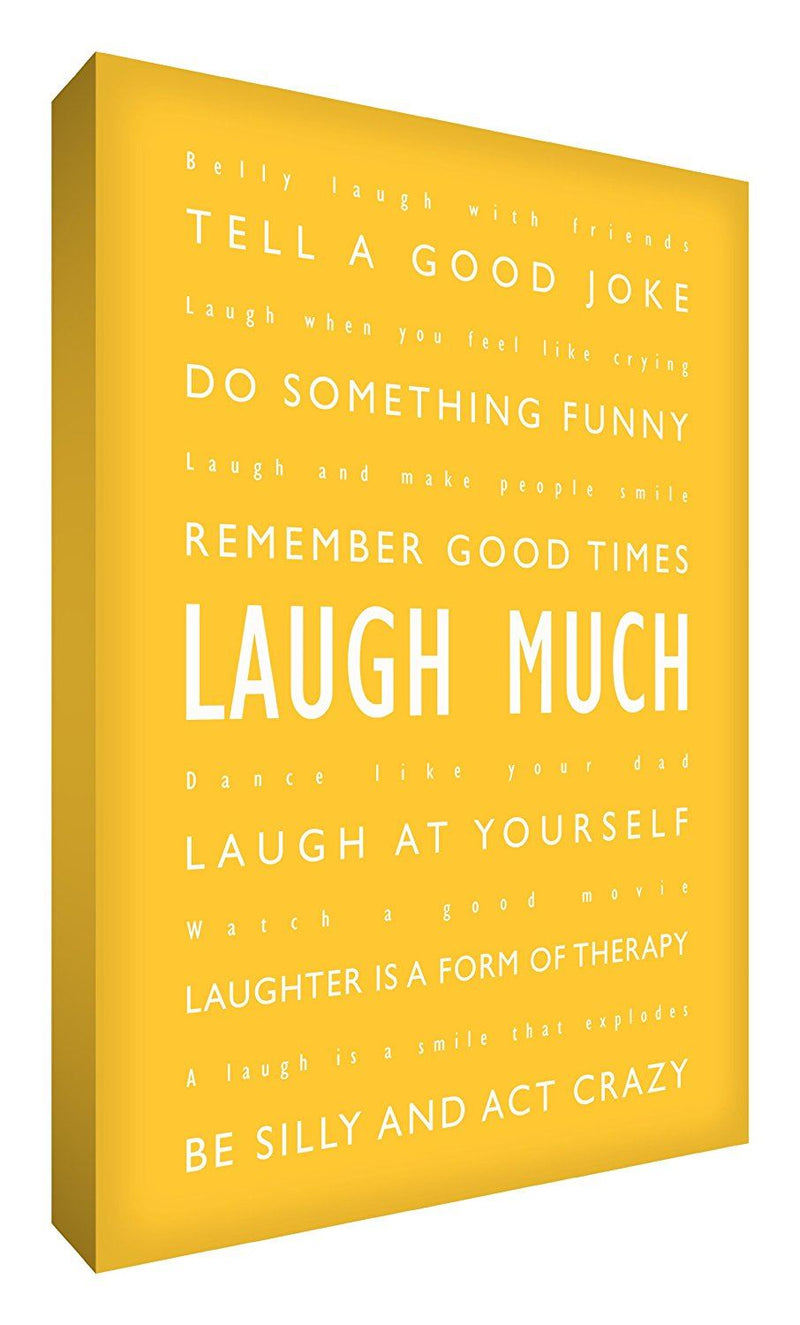 Feel Good Art 36 x 24-inch Laugh Much A1 Modern Typographic Thick Box Canvas, Yellow