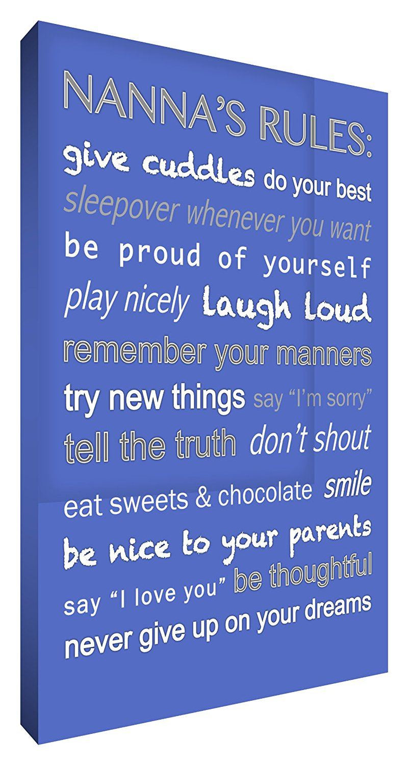 Feel Good Art 24 x 16-inch Thick Box Canvas Nannas Rules, Blue