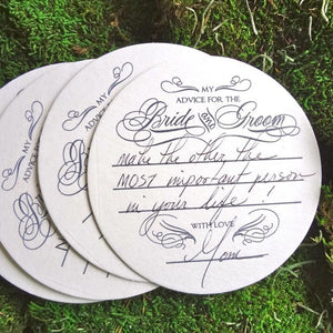 Advice for the Bride and Groom Coasters - set of 10