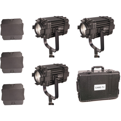 3 Pcs CAME-TV Boltzen 60w Fresnel Fanless Focusable LED Daylight Kit