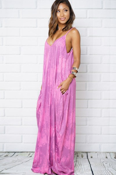 Fushia V Neck Maxi Dress
