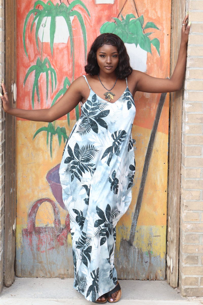 All Over Floral Print V Neck Maxi Dress