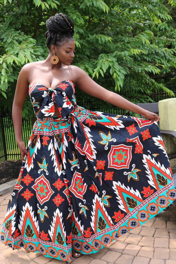 Black and Red African Wax Print Maxi Skirt