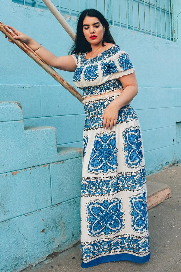 Blue Print 2 Piece Maxi Skirt Set