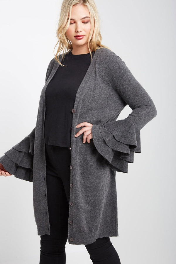 Charcoal Long Cardigan Sweater