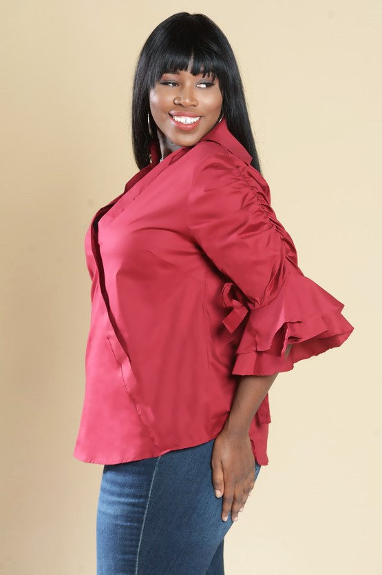 Red Collard V Neck Ruffled 3/4 Sleeve Top