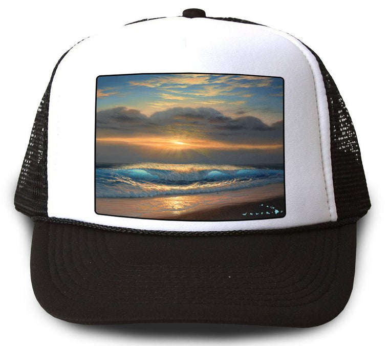 End of a Perfect Day Black Mesh Trucker Hat by Walfrido