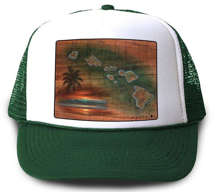 Hawaiian Islands Koa Map Green Mesh Trucker Hat by Walfrido