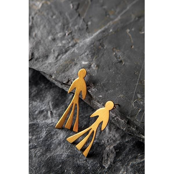 Human Figurine Gold Plated Silver Earrings