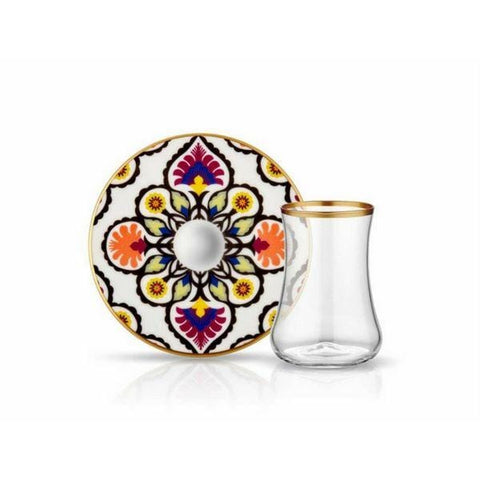 Istanbul Tiryaki Tea Glass and Saucer | Breeze | Set of 6