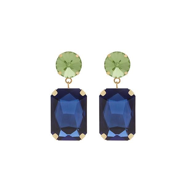 Jerry Crystal Earrings | Grass Green & Sapphire