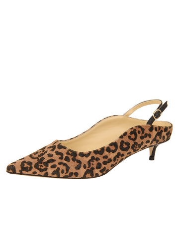 Womens Cheetah Brook Slingback Kitten Heel