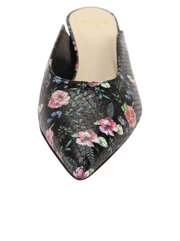 Womens Rose Black Snake Stamp Berta Kitten Heel Mule 4 Alternate View