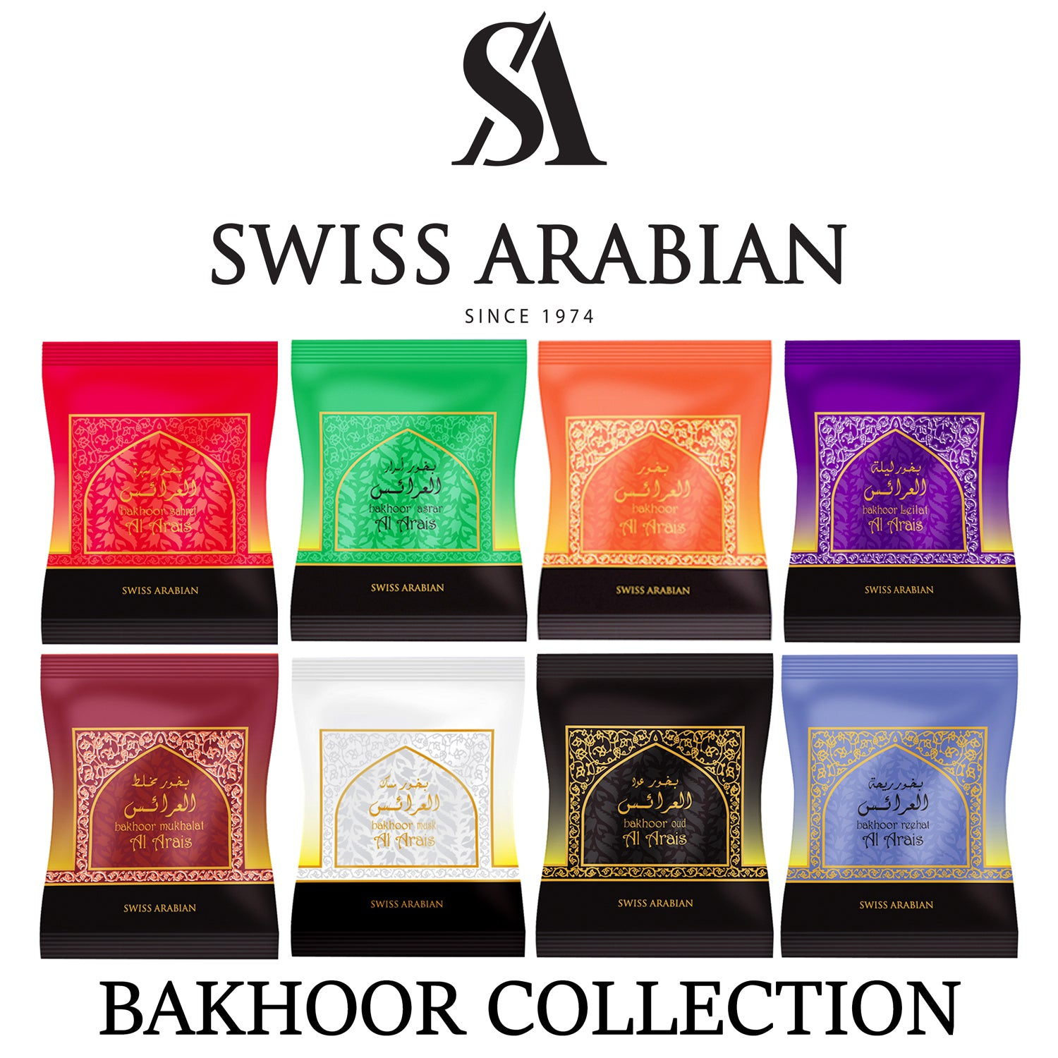 Swiss Arabian Bakhoor Pack Collection (8 x 40g Packs Bundle - Save)