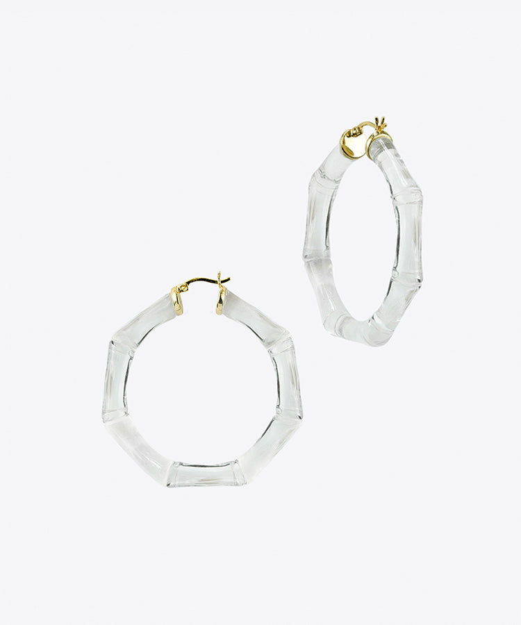 LUCITE BAMBOO HOOP EARRINGS