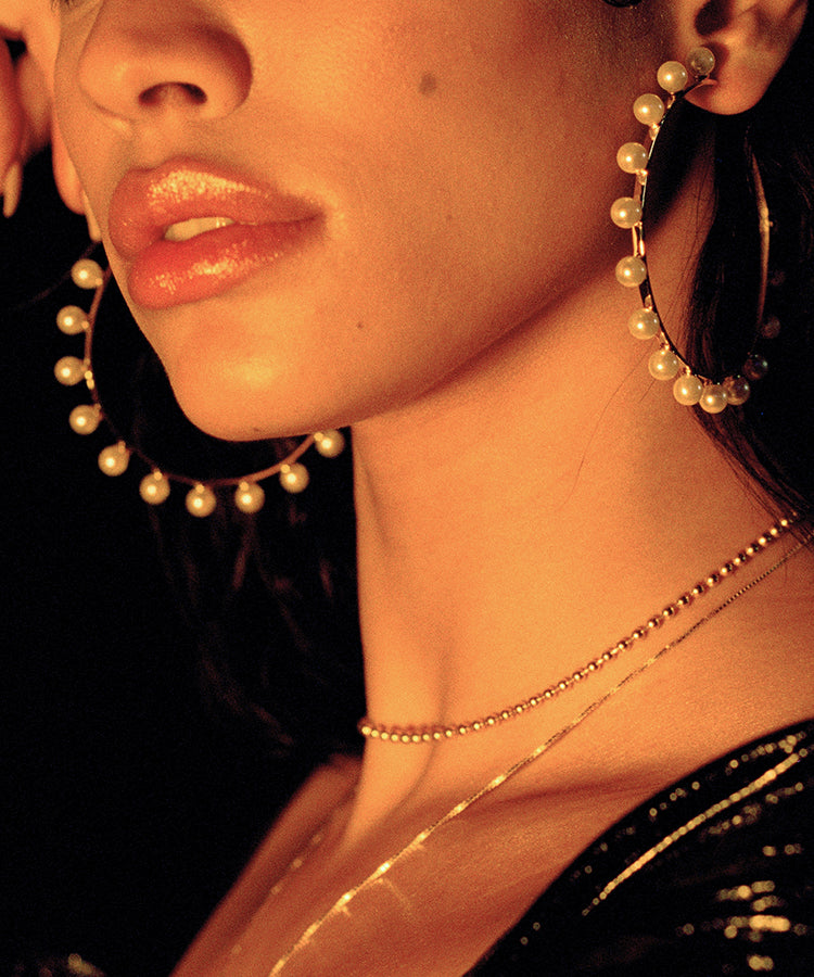 Monica Pearl Earrings Hoops Kelly Shami Jewelry Shami Official