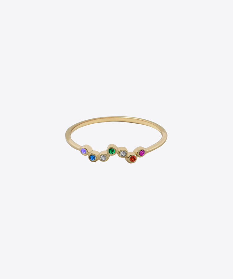 RAINBOW CLUSTER DAINTY RING