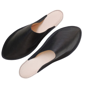 Slim Tokyo Leather Slippers / Black  [Heiwa Slipper + SPACE549] - Heiwa Slipper