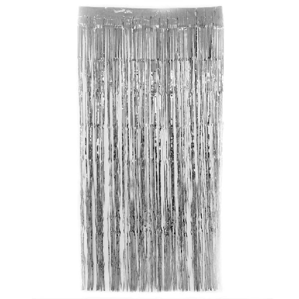 Silver  Fringe Curtains 1 x 2 m