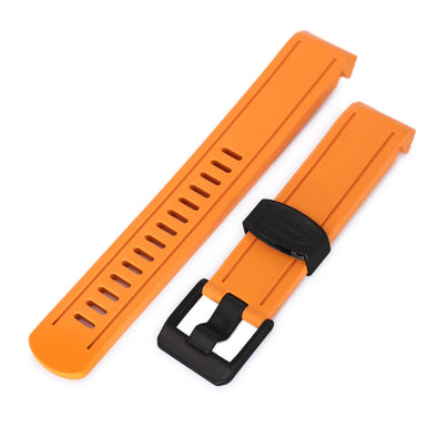 20mm Crafter Blue - Orange Rubber Curved Lug Watch Band for Seiko Sumo SBDC001, PVD Black Buckle