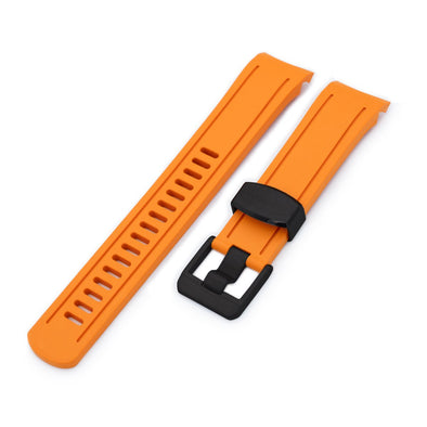 22mm Crafter Blue - Orange Rubber Curved Lug Watch Band for Seiko SKX007, PVD Black Buckle
