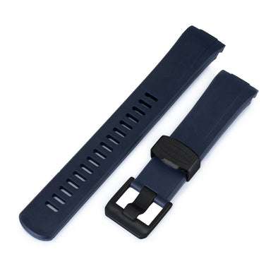 22mm Crafter Blue - Navy Blue Rubber Curved Lug Watch Band for Seiko Turtle SRP777, PVD Black Buckle