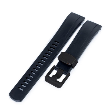 22mm Crafter Blue - Black Rubber Curved Lug Watch Strap for Seiko Samurai SRPB51, PVD Black Buckle