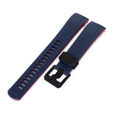 22mm Crafter Blue - Dual Color Blue & Red Rubber Curved Lug Watch Strap for Seiko Samurai SRPB51, PVD Black Buckle