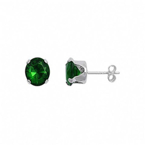 Sterling Silver Oval 1 Carat May Emerald Birthstone Stud Earrings - None