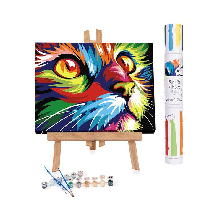 Adults paint by numbers of an abstract colorful cat