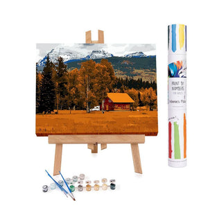 Paint by numbers of a cabin during an orange autumn in the Yosemite park