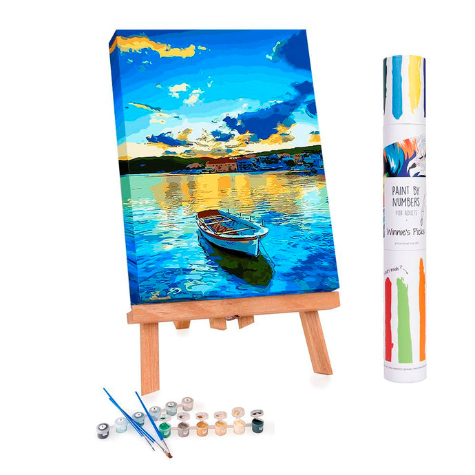 Paint by numbers of a small boat in a blue lake