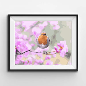 Painting of a robin with pink flowers