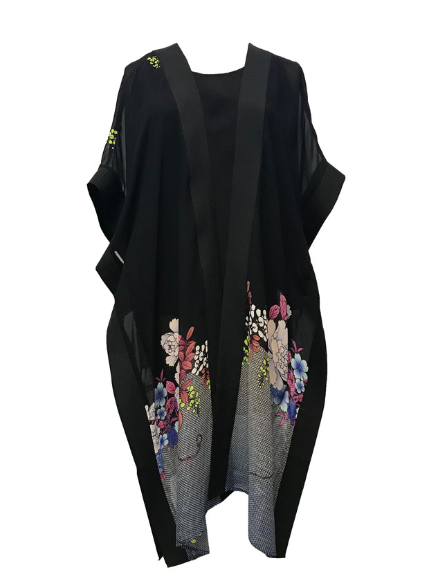 Stylish poncho style long duster in 100% Silk