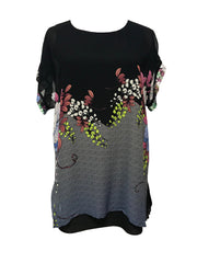 Double layered short sleeve Silk tunic