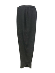 Solid Long Silk Blend Cropped Pant