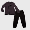 carbon colored womens chef coat and black pants